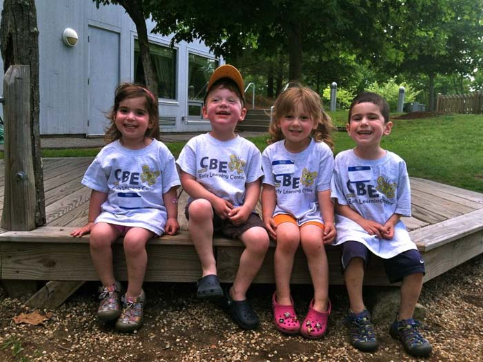 Students wearing CBE Early Learning Center T-shirts